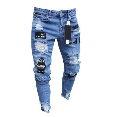 FeMereina Men's Ripped Skinny Jeans Stretch Frayed Biker Slim Fit Denim Pants Trousers