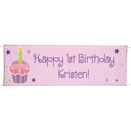 Personalized Oversized Birthday Banner, Party Cupcake