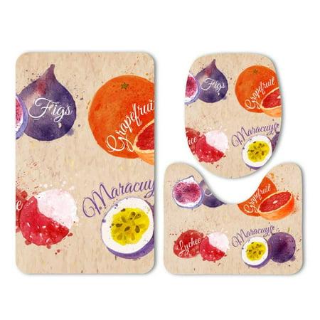 PUDMAD Fig Grapefruit Lychee Maracuya Watercolor 3 Piece Bathroom Rugs Set Bath Rug Contour Mat and Toilet Lid (Rivale Grapefruit Fig)