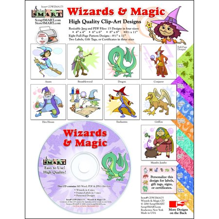 ScrapSMART Wizards and Magic Clip-Art CD-ROM, Colorful Illustrations for Scrapbook, Craft, Sewing