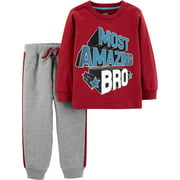 Child of Mine by Carter's Long Sleeve Graphic T-Shirt & Jogger Pants, 2-Piece Outfit Set (Toddler Boys)