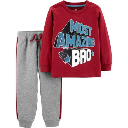 Child of Mine by Carter's Long Sleeve Graphic T-Shirt & Jogger Pants, 2-Piece Outfit Set (Toddler Boys) - Mime Outfit