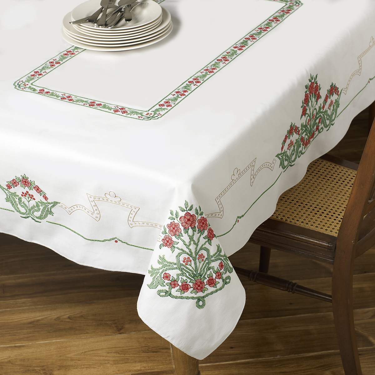 Stamped Cross Stitch Tablecloth 60 Inch X 90 Inch-Victorian Frieze