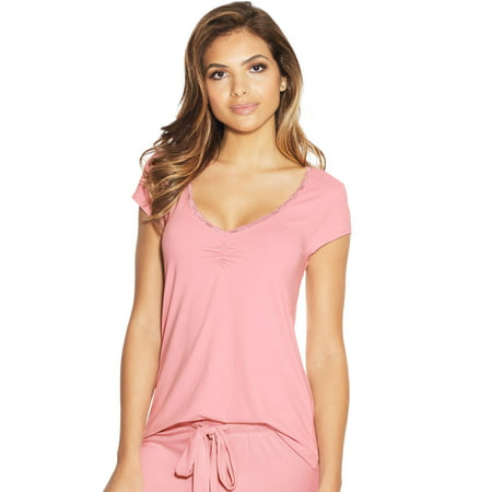 Little Tee Tee Lace And Trims (Maidenform Womens Lace Trim Cap Sleeve Tee, L, Pink)