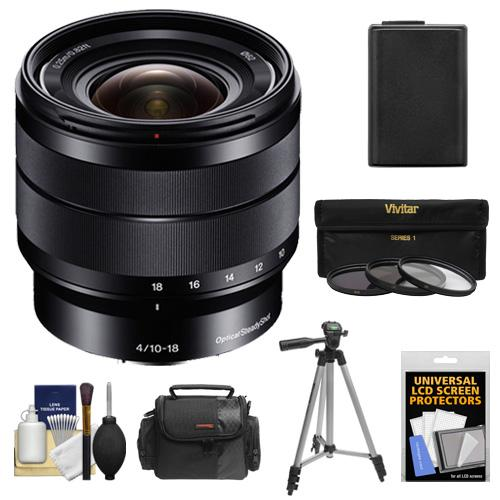 Sony Alpha E-Mount 10-18mm f/4.0 OSS Wide-angle Zoom Lens with Battery + Case + 3 Filters + Tripod + Kit for A7, A7R, A7S, A3000, A5000, A5100, A6000 Cameras