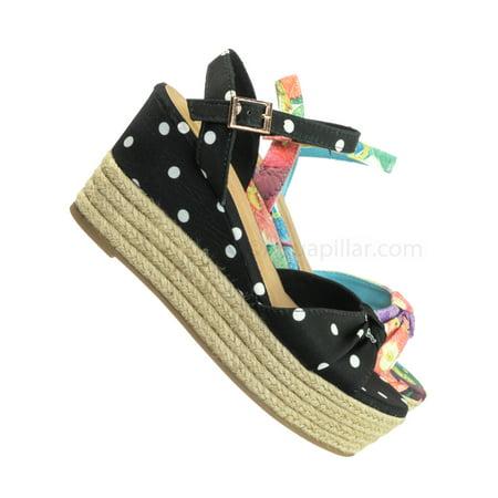 Olson09 by Bamboo, Espadrille Wedge Sandal -Women Multi Print & Polka Dot Braided Jute Wrap ()