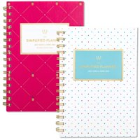 "Simplified for AT-A-GLANCE Academic Weekly/Monthly Planner, 6"" x 8"", Fuchsia Pineapple or Happy Dot (ELW22-200A-21)"