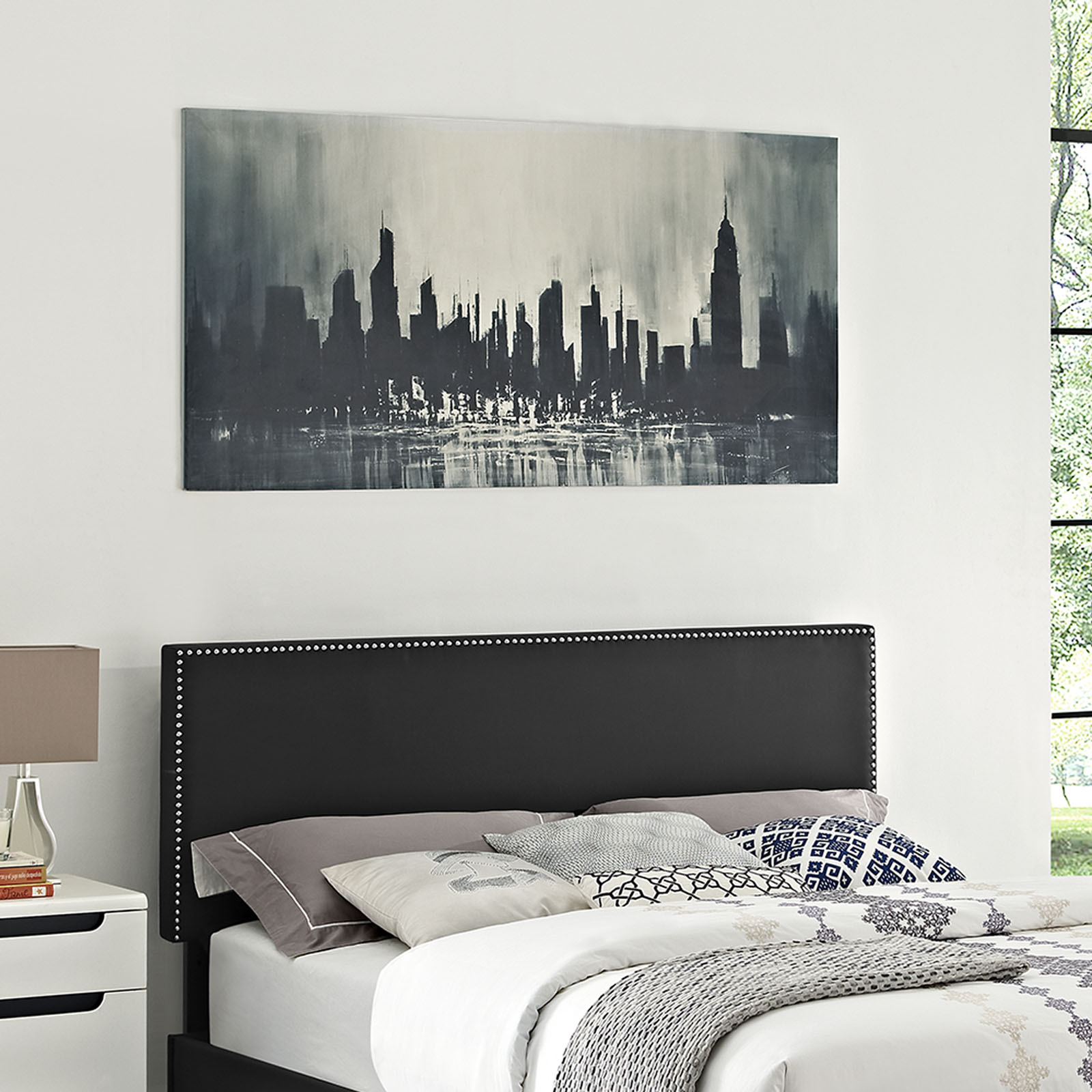 Modway Phoebe Nail Button Accent Headboard, Multiple Sizes and Colors