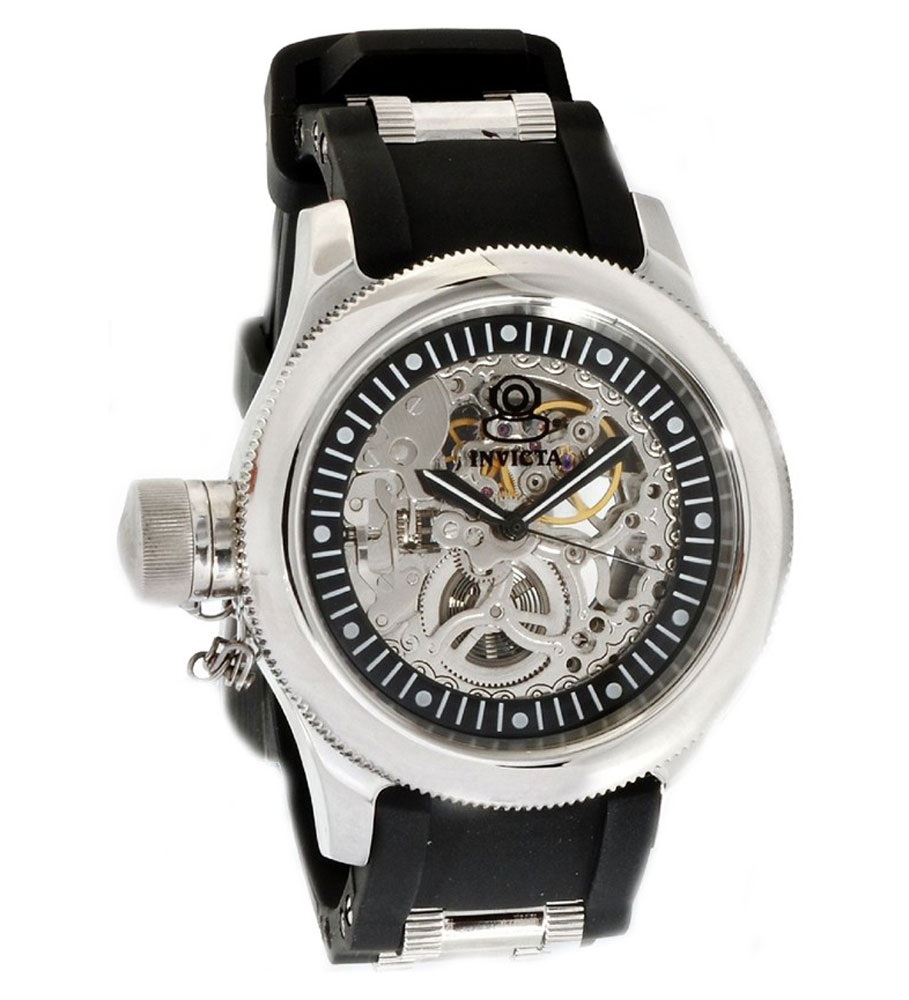Invicta 1843 Men's Russian Diver Black Rubber Strap Silve...