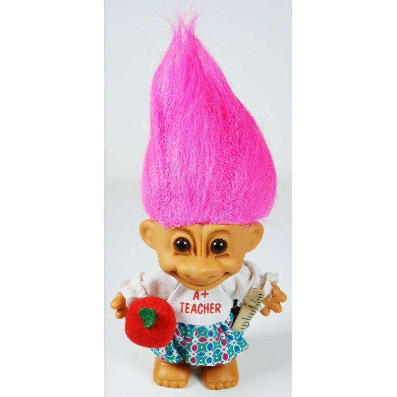 Russ Berrie My Lucky A+ TEACHER Troll Doll (Hot Pink Hair)
