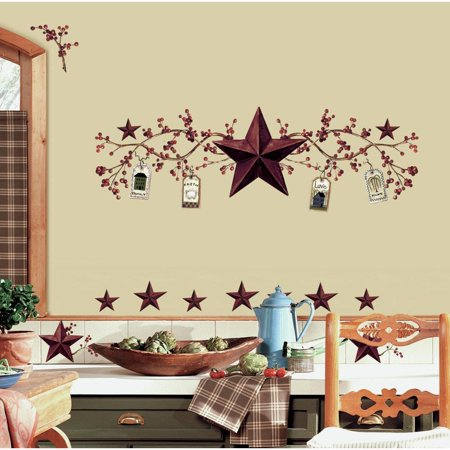 New COUNTRY STARS & BERRIES 40 Wall Decals Peel & Stick Kitchen Decor
