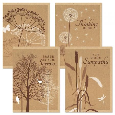 Kraft Sympathy Greeting Cards - Set of 8 (2 of each design)