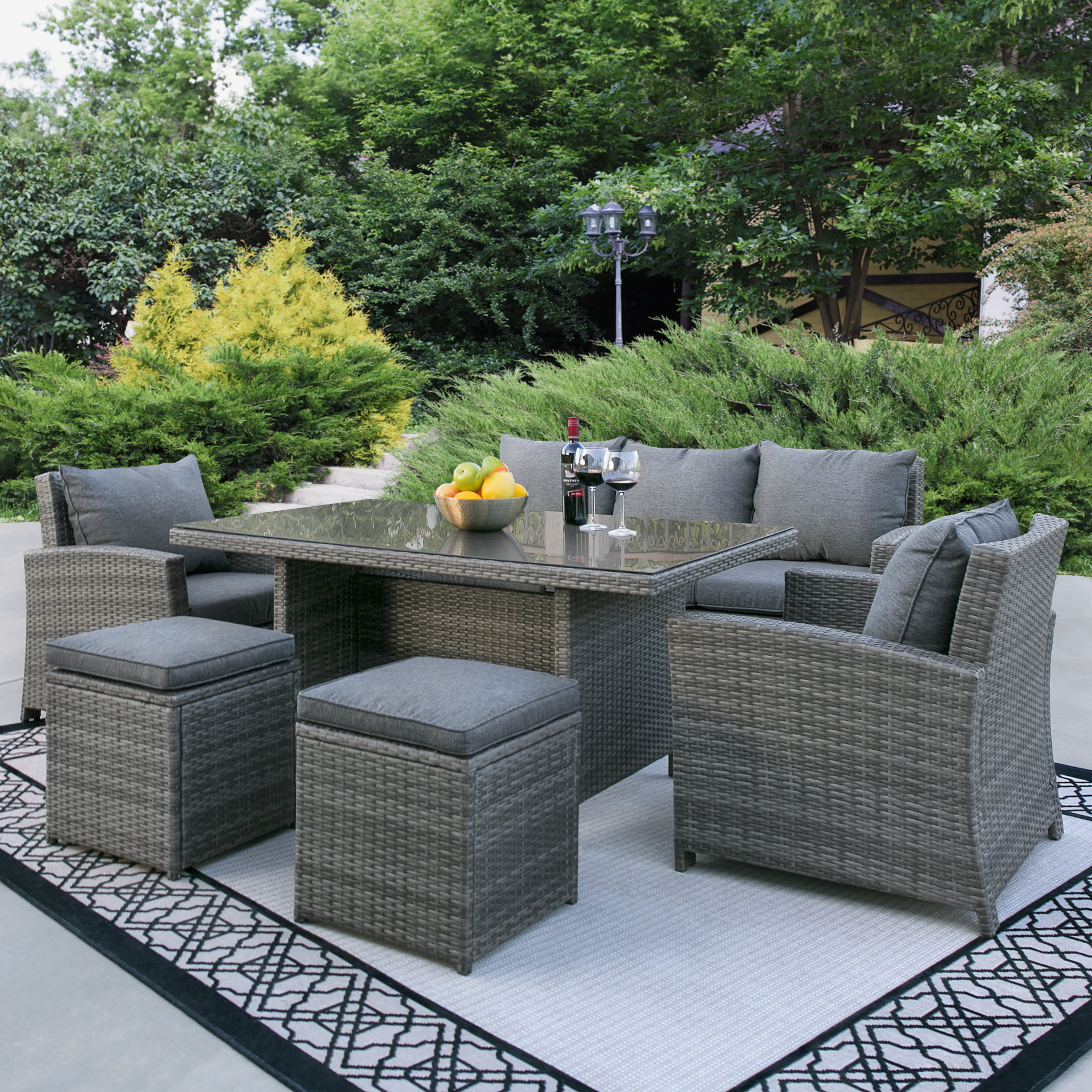 Best Choice Products Complete Outdoor Living Patio Furniture 6-Piece Wicker Dining Sofa Set- Grey by