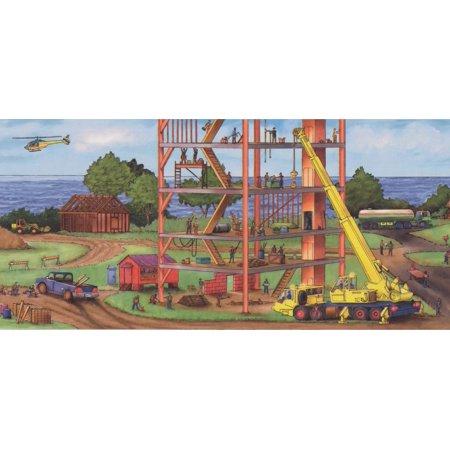Construction Project by Sea Bridge Buildings Extra Wide Kids Wallpaper Border Modern Design, Roll 15