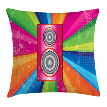 Vintage Rainbow Throw Pillow Cushion Cover, Discotheque Pop Party of the 60s 70s Theme Musical Notes and Pink Stereo, Decorative Square Accent Pillow Case, 16 X 16 Inches, Multicolor, by - 60s Themes