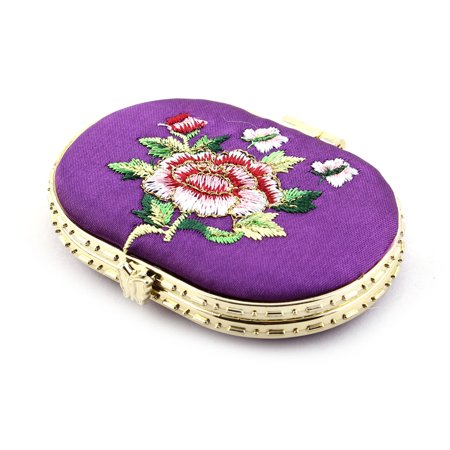 Oval Shaped Embroidery Flower Pattern Button Closure Makeup Mirror Purple