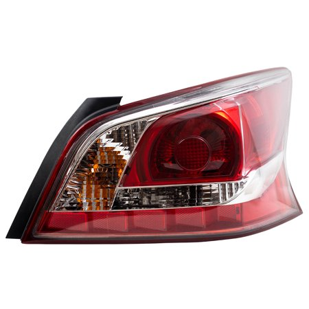 Passengers Taillight Tail Lamp Lens with Red Edge Trim Replacement for Nissan 26550-3TA0B