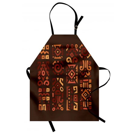 Earth Tones Apron Doodle Style Graphic African Figures in Four Vertical Borders Ethnic Accents, Unisex Kitchen Bib Apron with Adjustable Neck for Cooking Baking Gardening, Multicolor, by Ambesonne