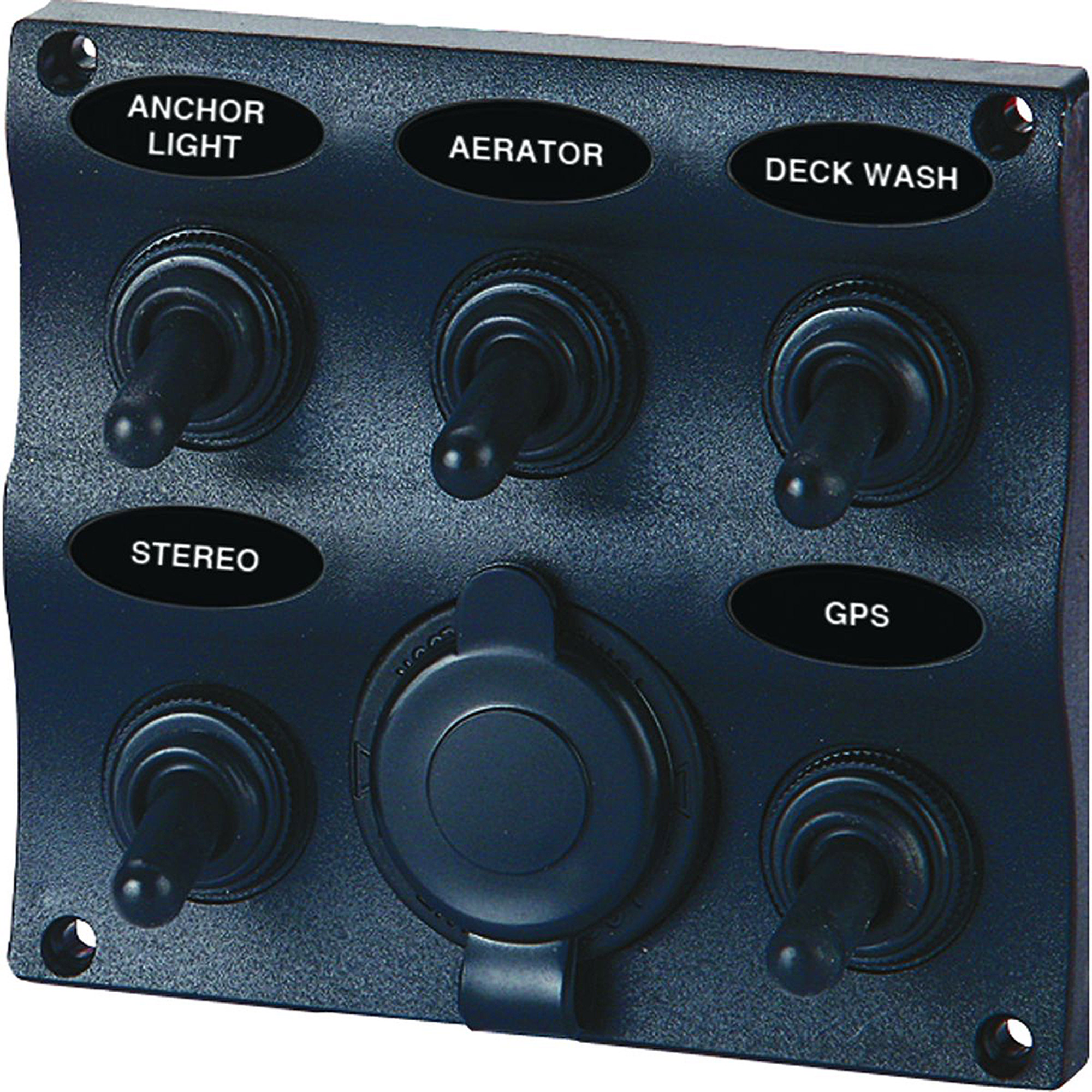 SeaSense 5 Gang Toggle Switch Panel with 12-Volt Outlet, Wave Design