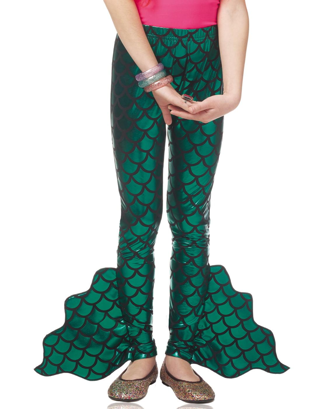 Mermaid Pants Green Fin Mythical Creature Girls Child Costume Leggings-M