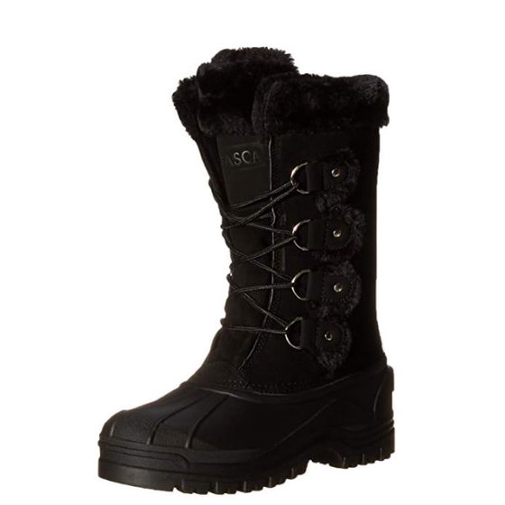 199aee57f490 Warm padded boot shaft. Itasca Marais Women s Black Suede Waterproof  Insulated Winter Snow Boots