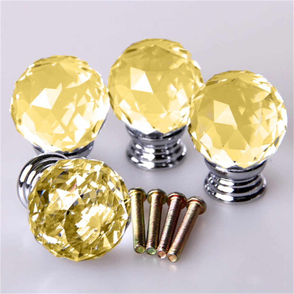4pcs/set Crystal Glass Acrylic Door Knobs Drawer Cabinet Furniture Handle