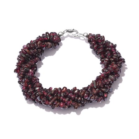 5 Strand Twisted Bracelet Garnet Chips 925 Sterling Silver Platinum Plated Gift Jewelry for Women Size 7.25