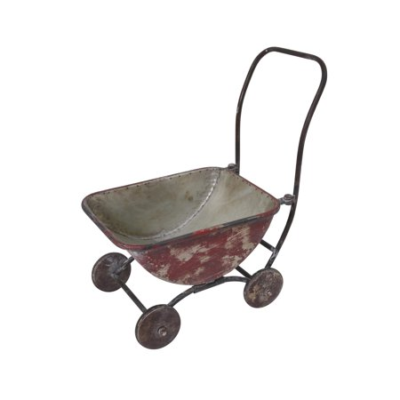 Gerson 17.5-Inch Long Metal Antique Brush Painted Red Wagon Plant Holder