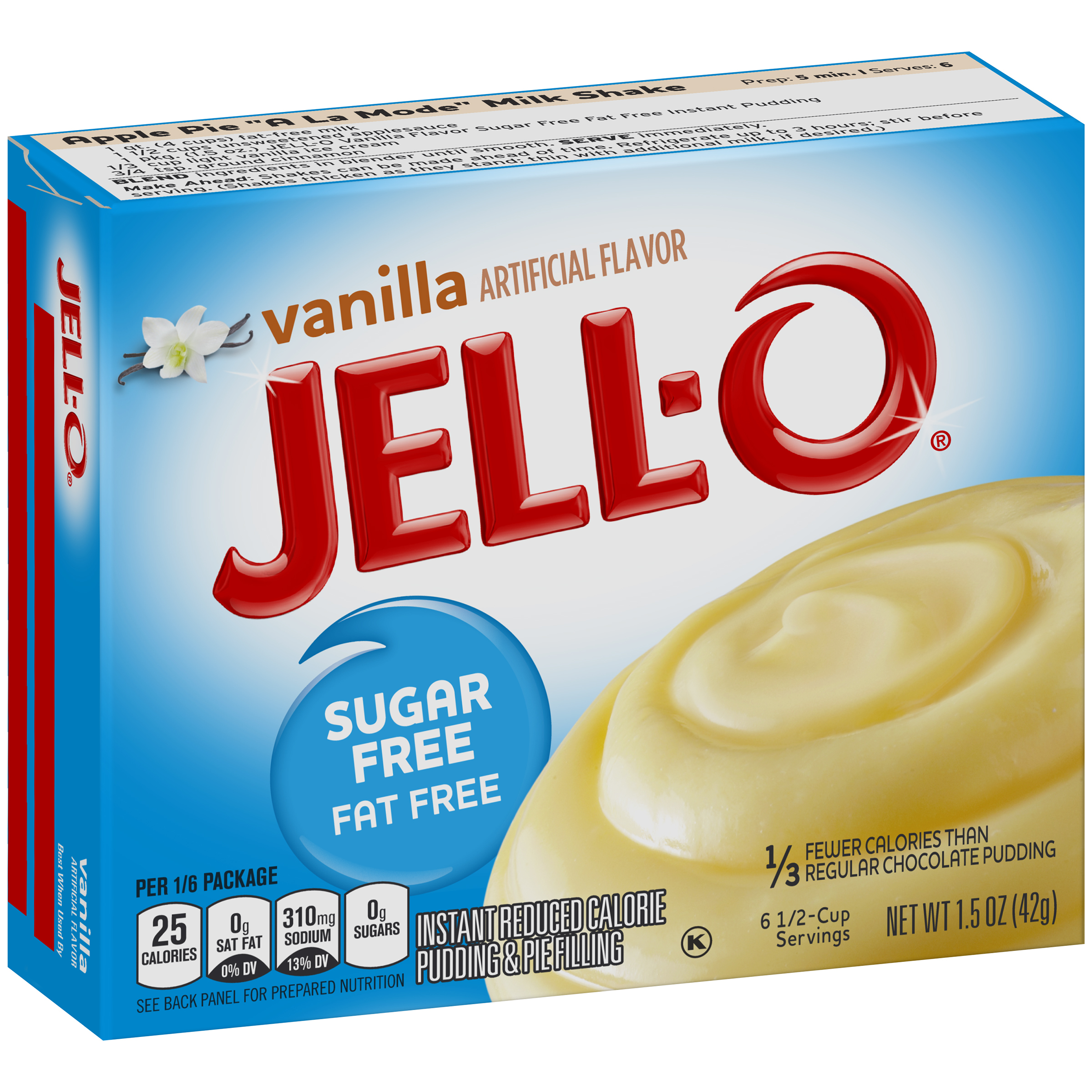 (5 Pack) Jell-O Vanilla Sugar-Free-Fat-Free Instant Pudding & Pie Filling, 1.5 oz Box