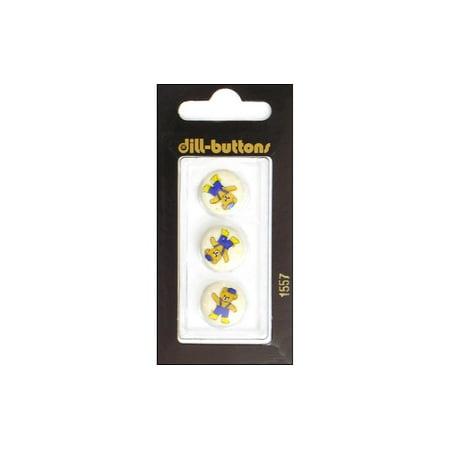 Dill Buttons 20mm 2pc 2 Hole Yellow (Art Glass Daisy Button)