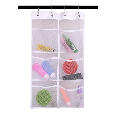 6 Grids Shower Organizer Bathroom Tub Hanging Mesh Storage Net Bag with 4 -
