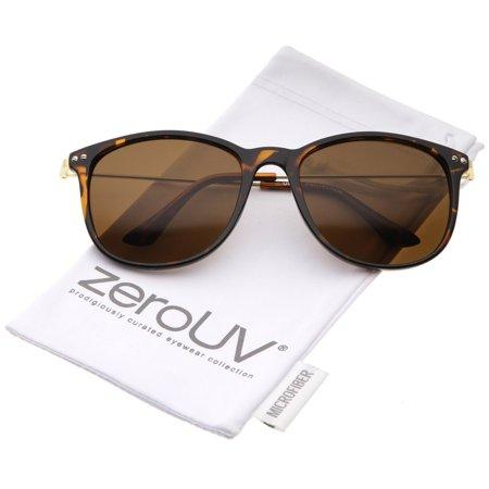 b2b810563ce zeroUV - Casual Horn Rimmed Basic Shape Ultra Slim Metal Temples Square  Sunglasses 57mm (Shiny Tortoise-Gold   Brown) - 57mm - Walmart.com
