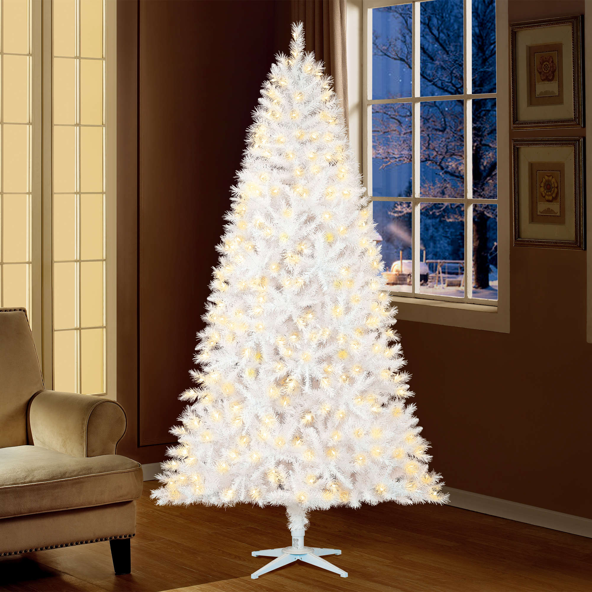Holiday Time 7.5 Pre-Lit Kennedy Fir Artificial Christmas Tree with 450 Clear Lights - White