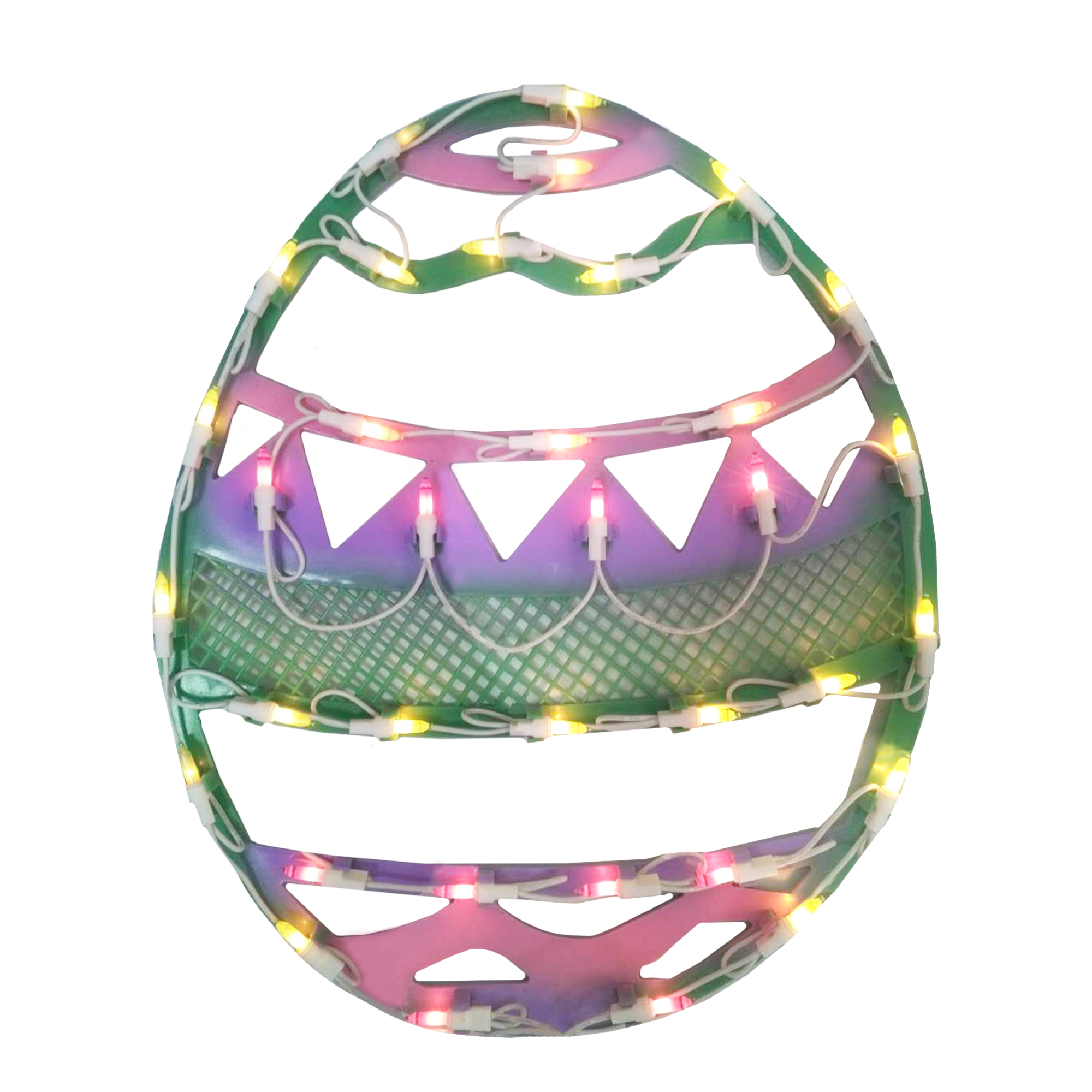 """15.75"""" Lighted Pastel Colored Easter Egg Spring Window Silhouette"""