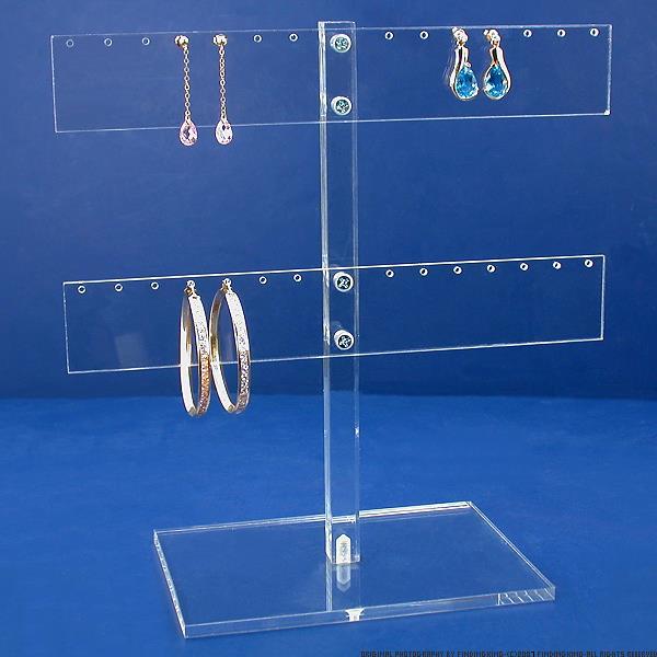 Acrylic 14 Pair Earring T-Bar Display Tree Holder