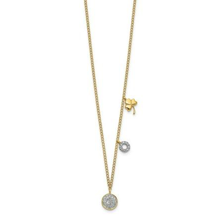 KIOKORI 14K Yellow Gold Diamond Two Circle and Shamrock Necklace 1/10-Carat