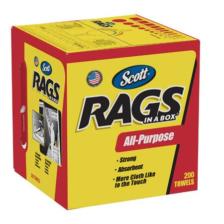 Scott White Shop Rags in A Box - 200 sheets