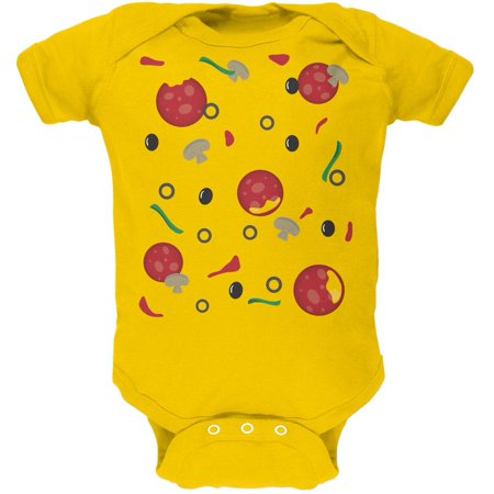 Halloween Pizza Costume Yellow Soft Baby One Piece - Halloween Pizza Appetizers