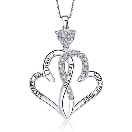 Engraved Sisters Heart Sterling Silver CZ Chain Pendant Necklace Women