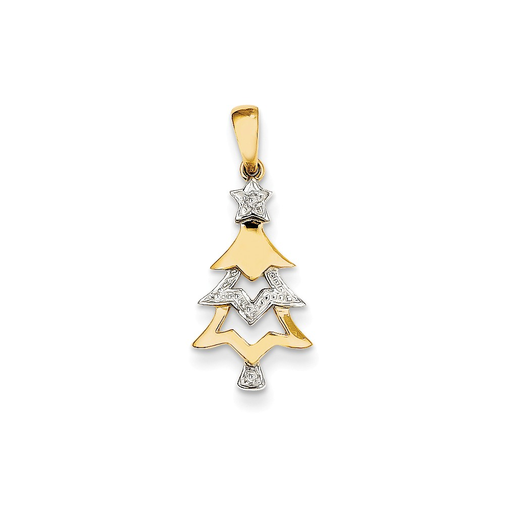 14k Yellow Gold Diamond Christmas Tree Pendant