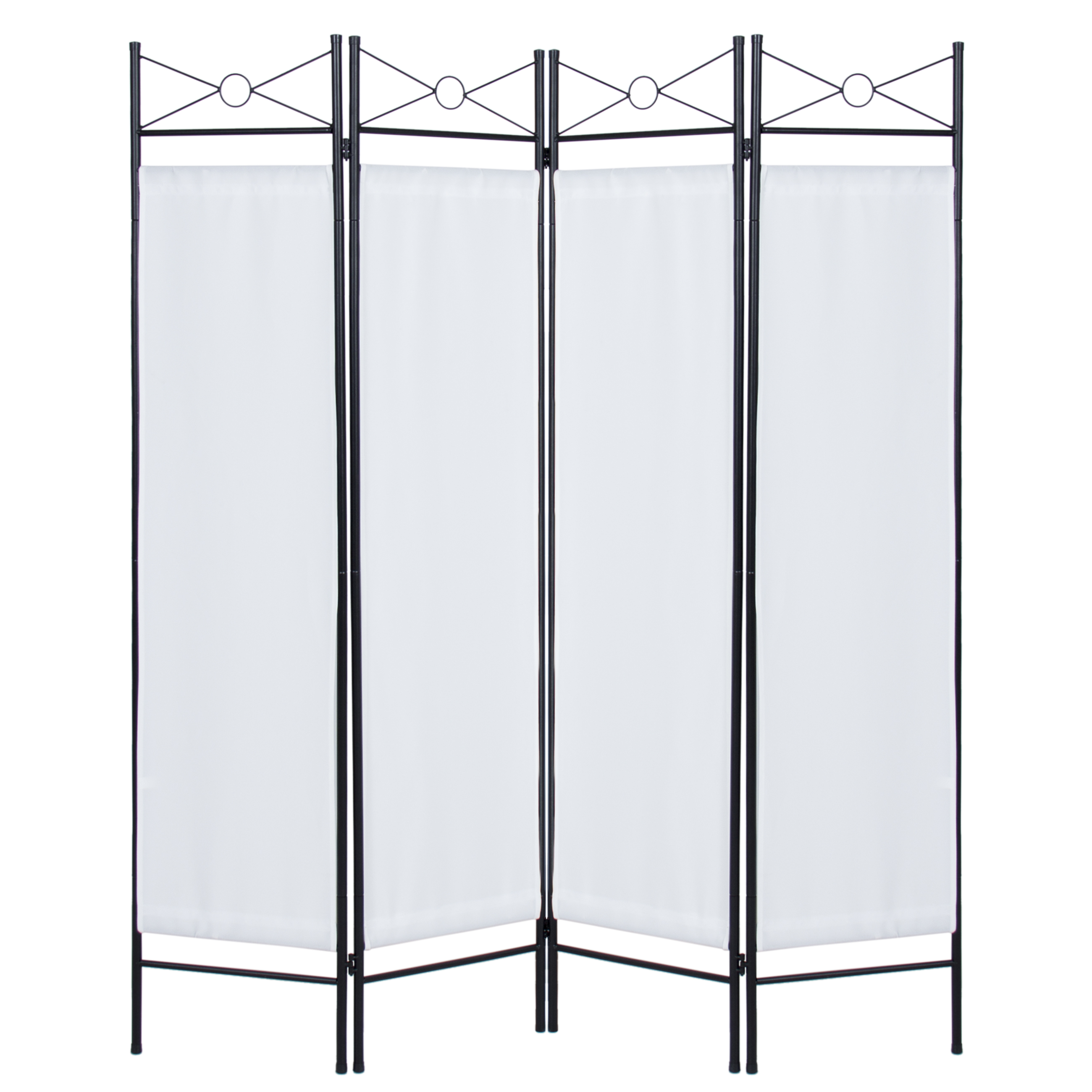 Best Choice Products 6ft 4 Panel Folding Privacy Screen Room Divider Decoration Accent For Bedroom Living Office W Steel Frame White