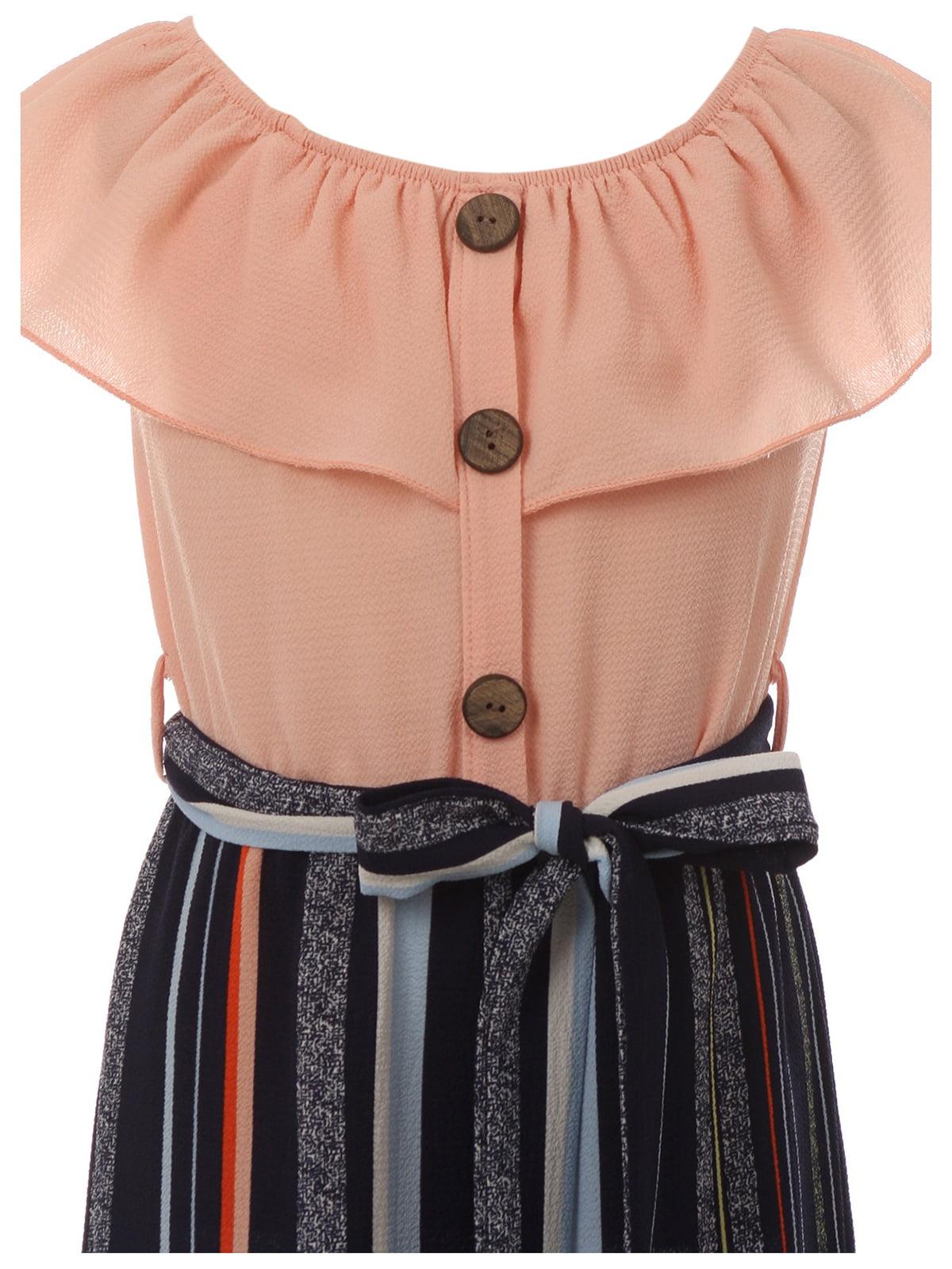 Little Girls Cold Shoulder Fit Jumpsuit Chiffon Belt Summer Romper Jumpsuit USA