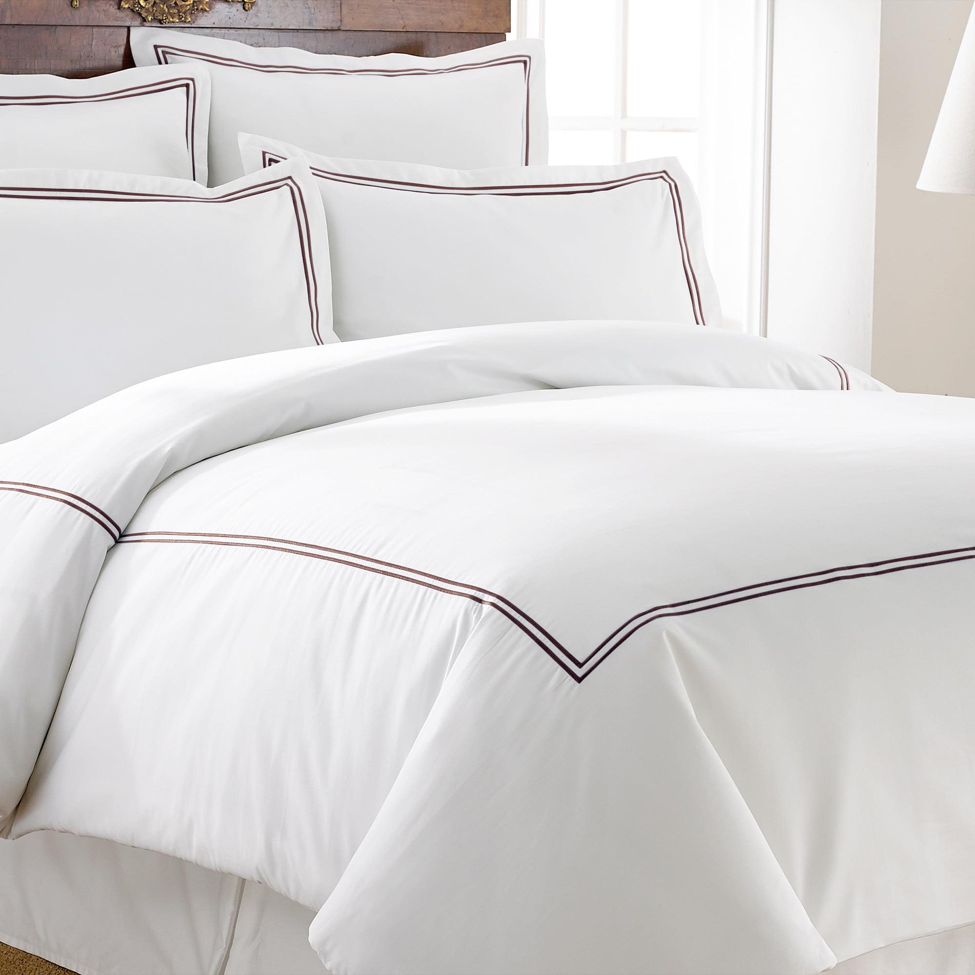 600TC Cotton Rich 3pc Duvet Set With Double Marrowing - Chocolate