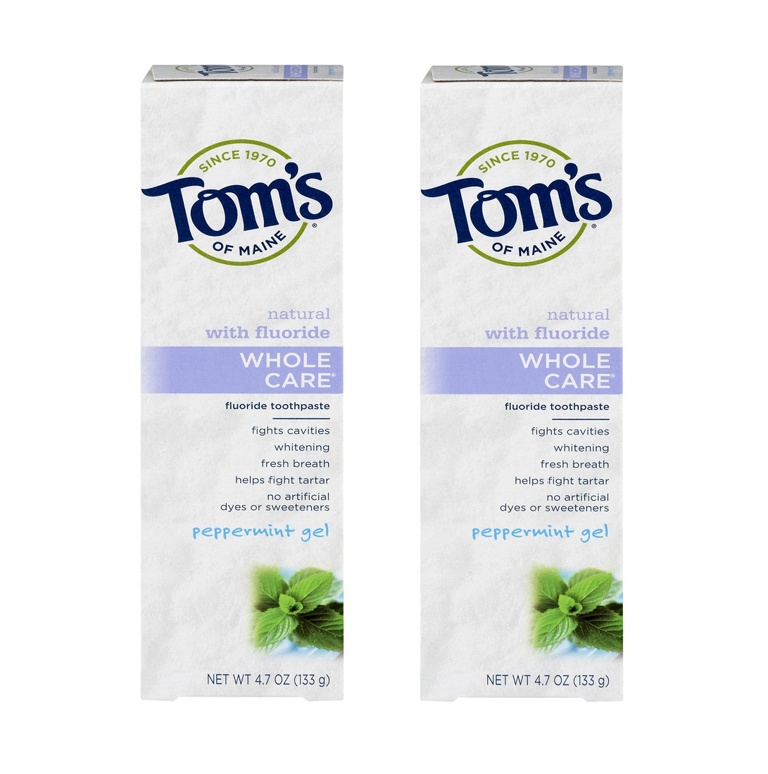 (2 Pack) Tom's of Maine Whole Care Toothpaste with Fluoride Peppermint Gel, 4.7 OZ