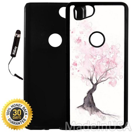 Custom Google Pixel 2 Case (Cherry Blossom Water Color) Plastic Black Cover Ultra Slim | Lightweight | Includes Stylus Pen by Innosub Black Cherry Two Light