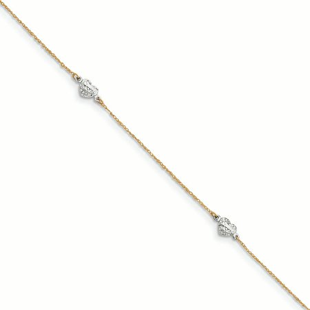 14K Two-Tone Gold Adjustable Puffed Heart With 1