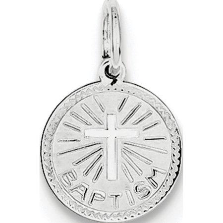 925 Sterling Silver Baptism Disc (10x15mm) Pendant / Charm - image 1 de 2