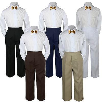 4d10ee67c972 3pc Gold Bow Tie Suit Shirt Pants Set Baby Boy Toddler Kid Uniform S-7