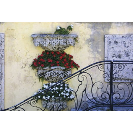 Antique Iron Rail II by Barbara Ellison 5x7 PosterSTAIRWAY FRONT ENTRANCE FLOWER BOxES HAND RAIL VINTAGE FLORAL STEPS ()