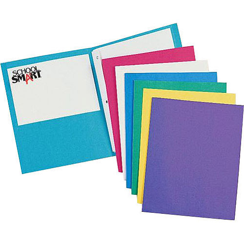 "School Smart Heavy Duty 2-Pocket Portfolio with 3-Hole Fastener, 9.5"" x 12"", Pack of 25"